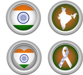 India Buttons with ribbon, heart, map and flag
