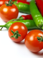 green chilli peppers with cherrys tomatoes
