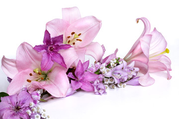 garland of delicate lilac flowers clematis and pink lilies