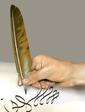 Handwriting with a feather quill poster