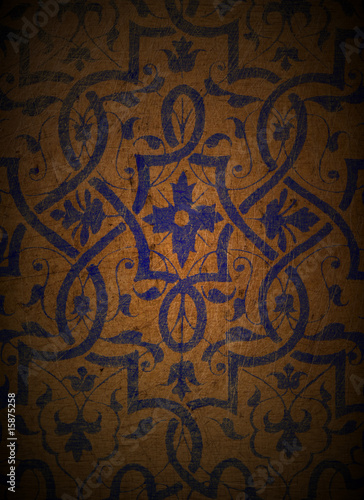 Blue Design on Wood 1
