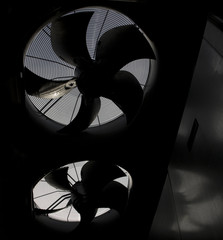 Silhouette of two fans in HVAC