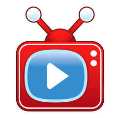 Media play or forward button on retro television set