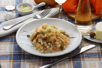 Risotto con la zucca e fagioli freschi - Primi Lombardia