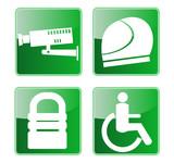 cctv camera, padlock,helmet,and wheelchair access icon poster