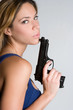 Woman Holding Weapon
