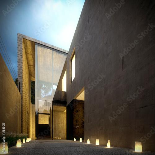 Modern concrete minimalist villa at dusk
