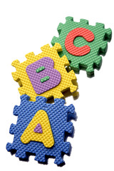 Alphabet learning blocks isolated over white