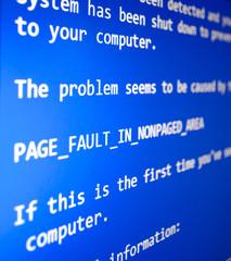 PC crash, blue screen of death