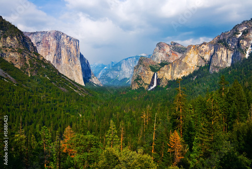 Yosemite Valley with cloudy sky