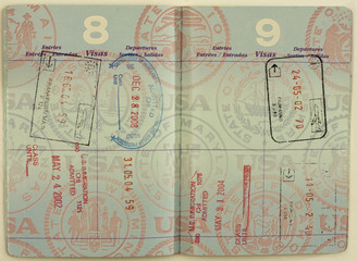 Entry Stamps on a USA Passport