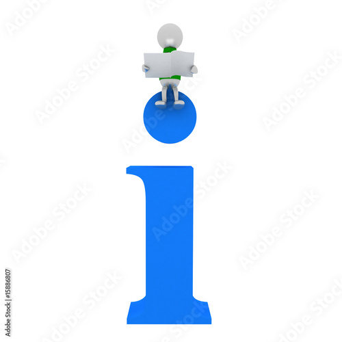 3D man sits on symbol info isolated on white.