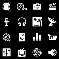 Media white web icons