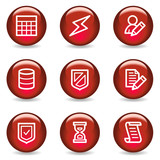 Database web icons, red glossy series poster