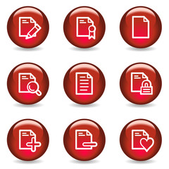 Document web icons set 2, red glossy series