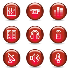 Media web icons, red glossy series