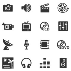 Media black web icons
