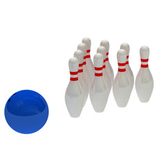 3D bowling isolated on white.