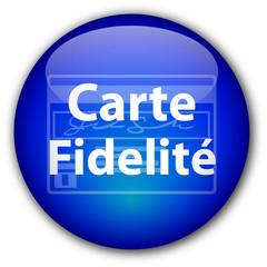 """Bouton rond """"Carte Fidelité"""" (bleu)"""