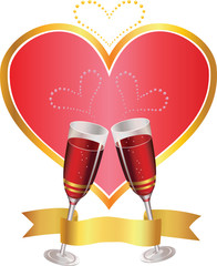 congratulation with heart and two glasses