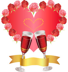 congratulation with roses and two glasses