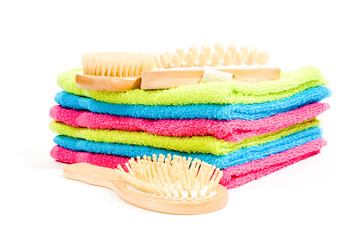 Multicolour towels with spa objects