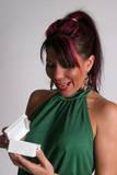Pretty woman open a box with pleasure poster