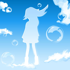 Sky girl silhouette over dreamy cloudy sky with bubbles