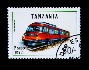 Old stamp.1991.Tanzania. Old locomotive. France 1972