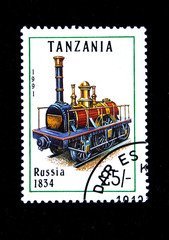 Old stamp.1991.Tanzania. Old locomotive. Russia 1834.