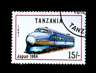 Old stamp.1991.Tanzania. Old locomotive. Japan 1964.