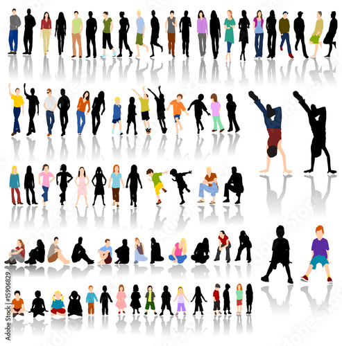 people walking silhouettes. Lots of Colorful People with