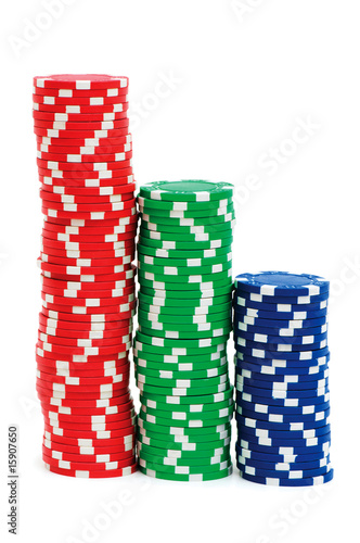 Casino chips isolated on the white