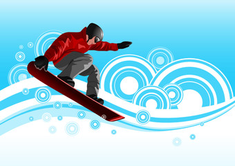 Snowboarder in red