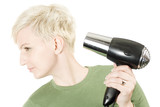 Young woman with hairdryer poster