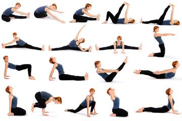 Woman in Various Sitting Yoga Poses