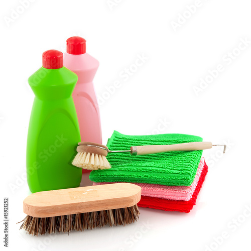 Detergent and brushes