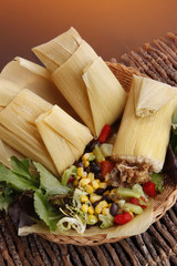 Chicken Tamale wraped in dried corn leaves