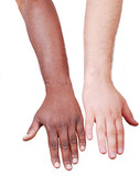 Two hands comparated, black and white on background poster