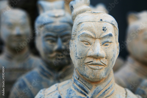 Aluminium Xian replica of a terracotta warrior sculpture found in Xian, China