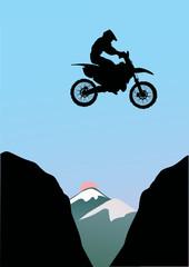 motorcyclist jumping