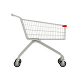 3D shop cart isolated on white.