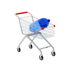 3d bottle and shop cart isolated on white.