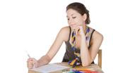 Shot of a Teenager Girl Doodling poster