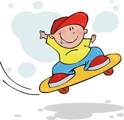 Cool jumping skateboarder