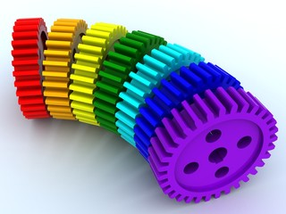 Seven gears from plastic of seven primary colours of a rainbow
