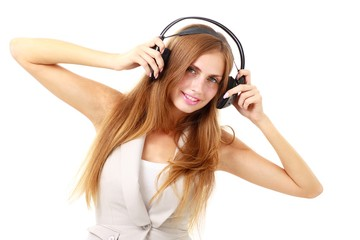 attractive girl with headphones