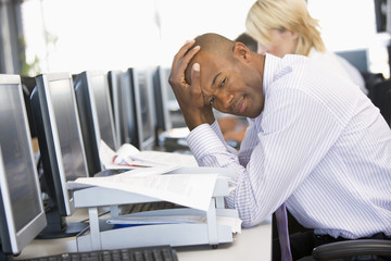 Stock Trader Looking Frustrated