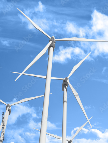 Wind power station against the sky and clouds