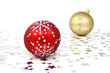 One red and one golden christmas tree baubles with silver stars